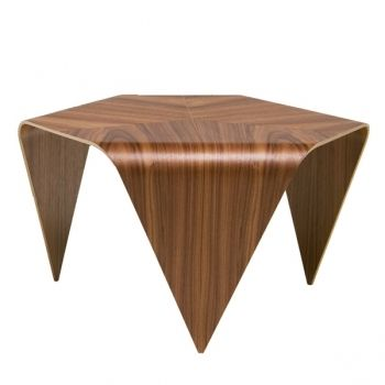 "The Trienna coffee table was designed by Ilmari Tapiovaara in 1954. Trienna is made of formed birch plywood with surface veneer and is a light weight table. Back in 1954 only a few model versions were made, while the serial production started only in 2007. In 2008 the Trienna coffee table was awarded the prize for ""Best reissue table"" by the UK design magazine ""Wallpaper""."