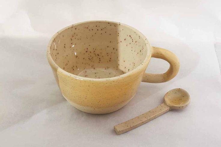 Yellow ceramic latte mug and spoon - Stinging Nettle Studio