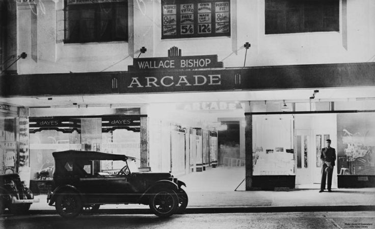 Wallace Bishop Arcade, Albert Street, Brisbane, Queensland, 1939 / John Oxley Library, State Library of Queensland, Neg: 84969 http://hdl.ha...| thefashionarchives.org