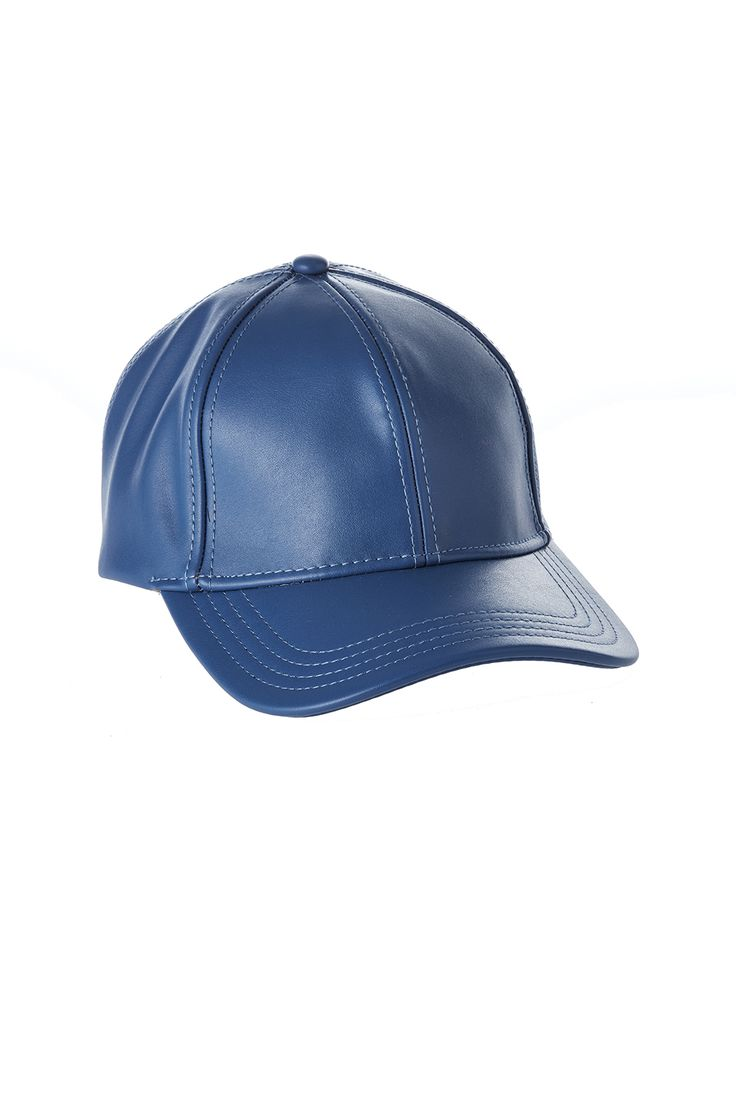 Faux leather baseball cap with an adjustable back tab.   Faux Leather Baseball Cap by C.C.. Accessories - Hats New York City Manhattan, New York City