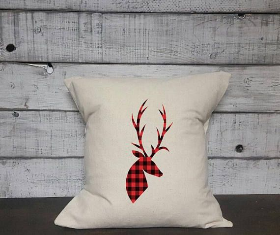 Check out this item in my Etsy shop https://www.etsy.com/ca/listing/567071279/plaid-deer-silhouette-pillow-cover
