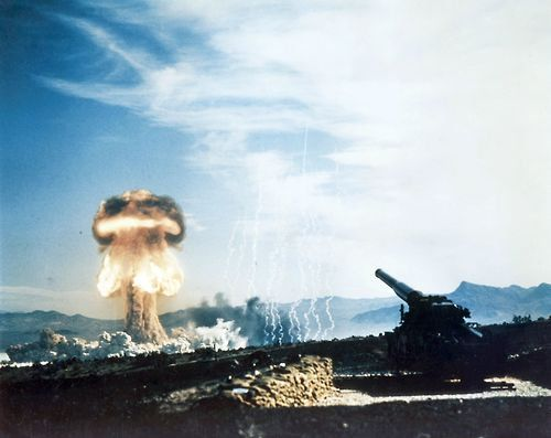 A 15 kiloton nuclear weapon detonates about 10 km from the cannon it was fired from, Nevada Test Site, May 1953