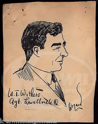 PENNSYLVANIA RAILROAD TRAIN AGENT W.T. WITHERS WWII PROPAGANDA ARTIST INK SKETCH