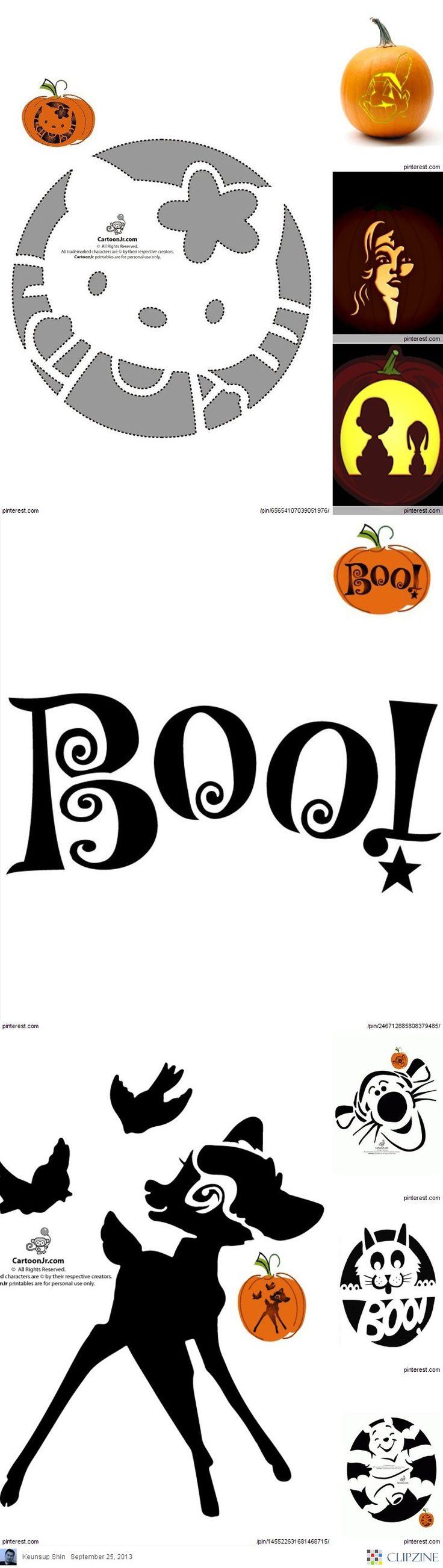 Halloween Pumpkin Stencils... link for these & more ideas:    http://clipzine.me/keunsupShin/clipzine/13425679053978814774/Halloween-Pumpkin-Stencils