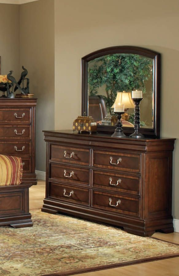 marble top bedroom furniture%0A Hennessy Brown Cherry Wood Glass Curved Mirror And   Drawers Dresser