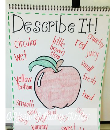 describe apple slice using adjectives. Would be a great activity with EET. Bring in apples to taste with lesson.