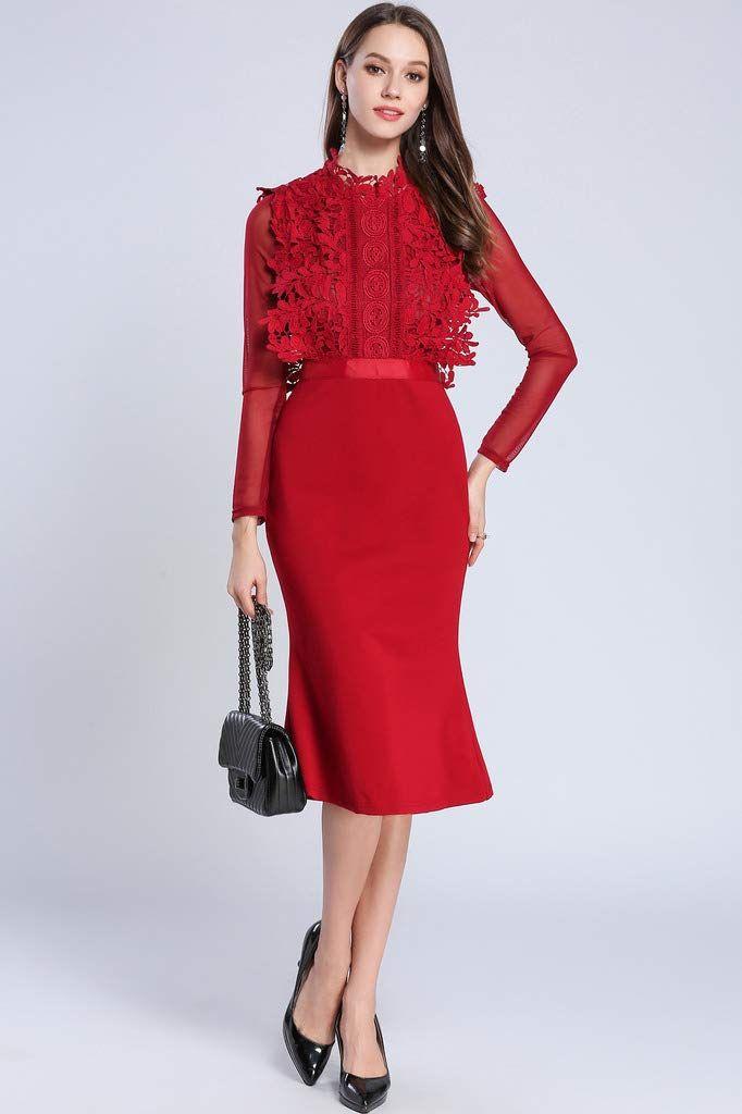 93cc6867a70e5 Ababalaya Women's Elegant High Neck Long Sleeve Lace Slim Bodycon Mermaid Evening  Dress