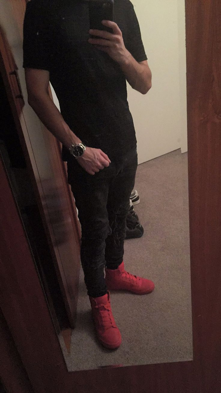 Red on red supra skytops Welder watch  Versace mesh t shirt Other washed black jeans