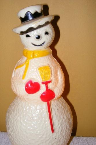 Vintage 13 Christmas Blowmold Snowman Light Up Hard Plastic