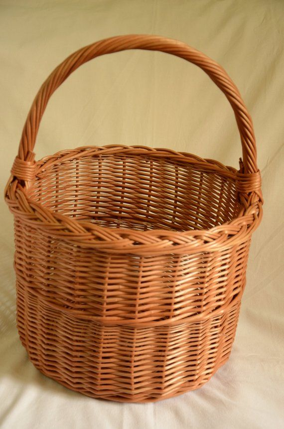 Round Wicker Basket Round Basket Woven Grocery Basket Picnic Basket Round French Basket Rustic Basket Birkin Basket Basket With Handle Basket Grocery Basket Rustic Baskets