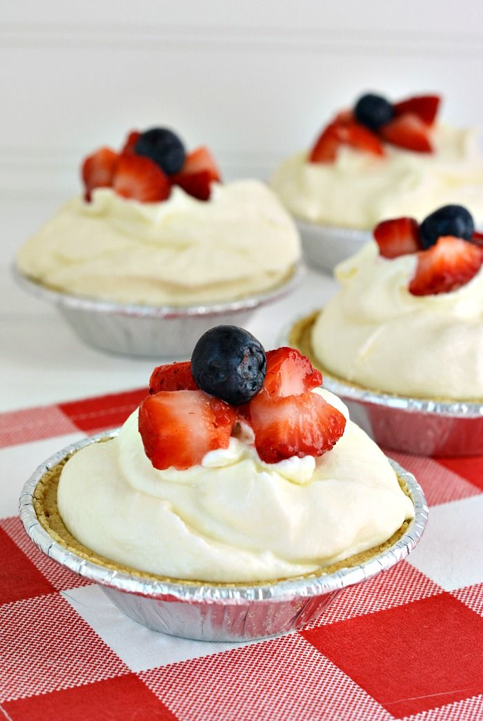 Patriotic White Chocolate Mousse Pies Recipe for the 4th of July