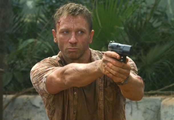 Daniel Craig, as Bond, using a Walther P99 in Casino Royale
