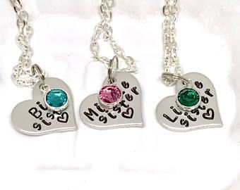 Sister heart necklace, Sister necklace set heart, Sister necklace for kids, Sister necklace birthstone, Sister necklace for 3, Personalized