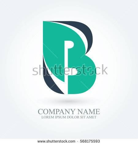 initial letter b creative circle logo typography design for brand and company identity. green and dark blue color