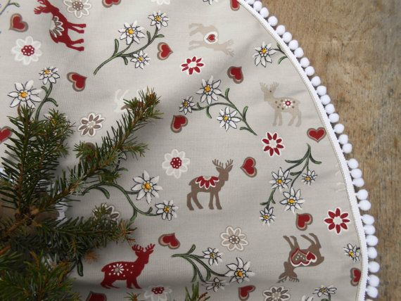 Swedish Fabric Christmas Tree Skirt Nordic by ViViCreative on Etsy