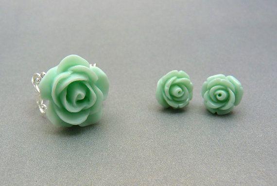 Mint Jewelry Set - Mint Green Rose Ring & Rosebud Earrings