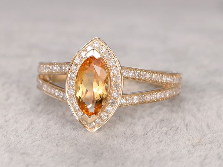 Perfect xmm Marquise Cut Citrine Engagement Ring Diamond Wedding Ring K White Gold Split Shank BBBGEM