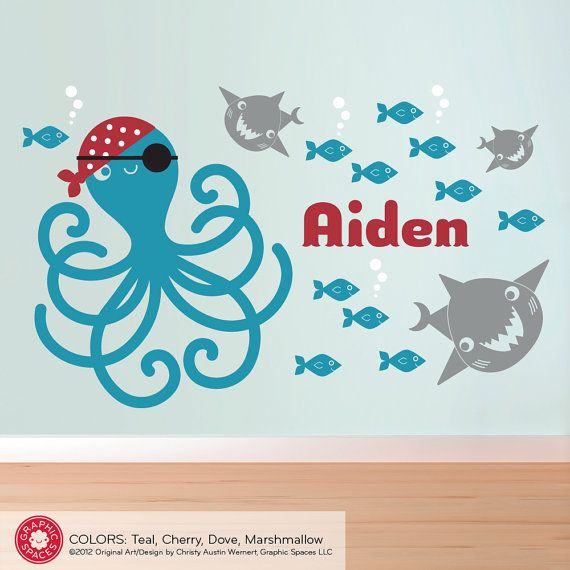 Pirate Octopus Wall Decal Kids Pirate Room by graphicspaces, $65.00