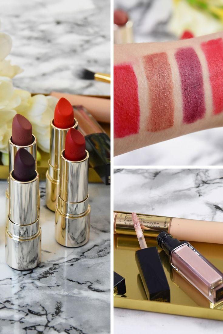 Swatches / Review / Clarins Joli Rouge Velvet Lippenstifte / Estée Lauder Pure Color Envy Shadow Paint undDouble WearCustom Coverage Correcting Duo
