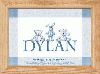 Teddies and Bunnies – Blue Personalised Baby Name Picture  This adorable picture is sure to brighten up any little baby boy's nursery. You can personalise this picture with your child's name and two unique messages.  A4 FRAMED PICTURE £29.99 A4 PRINT ONLY £16.50  It is available as a print only or ready framed in a choice of four finishes.