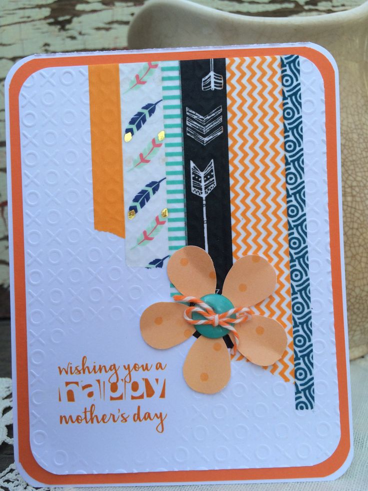 Mother's Day Greeting Card Orange Flower, Washi Tape, Teal, Arrows, Chevron, Feather by alykatdesigns on Etsy