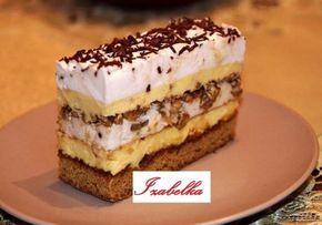 Chutný zákusek, který se skládá z dvoch těst: medového a bílkového. Velmi chutné jsou i nasekané ořechy a super vanilkový krém se šlehačkou na vrchu. Hotová mňamka!