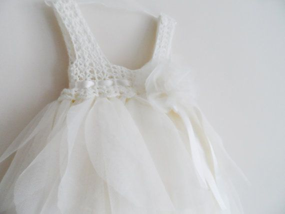 Ivory Baby Tulle Dress with Empire Waist and Stretch Crochet Top.Tulle dress  for girls with lacy crochet bodice.
