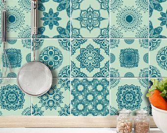 Autocollants de décalque tuiles tuile espagnoles ornements menthe verte essence 9 PC tatouage mural art cuisine salle de bain vinyle autocollant décoration murale mises en place