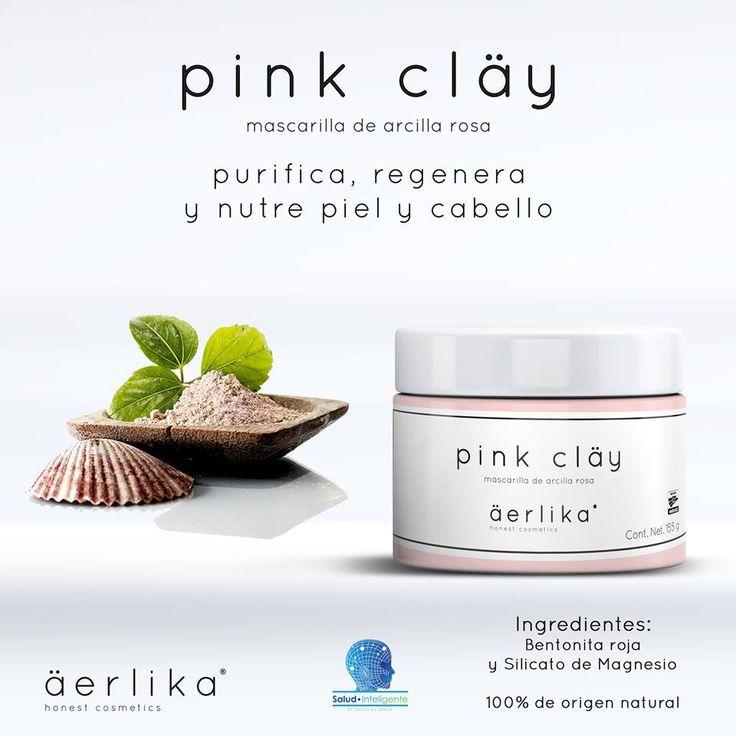 Pink Clay® Mascarilla de arcilla rosa  Purifica, regenera y nutre piel y cabello 100% de origen natural