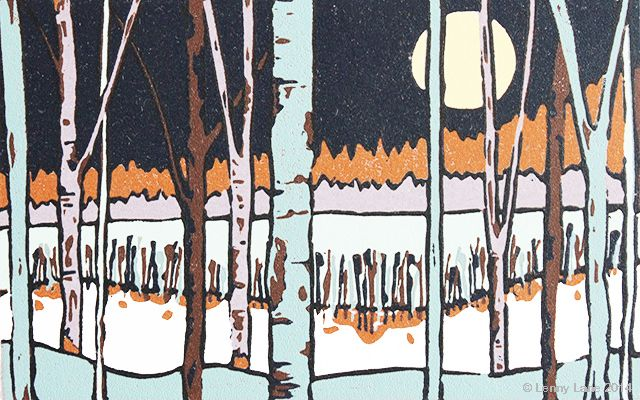November. A multi coloured lino reduction print. An original limited edition.