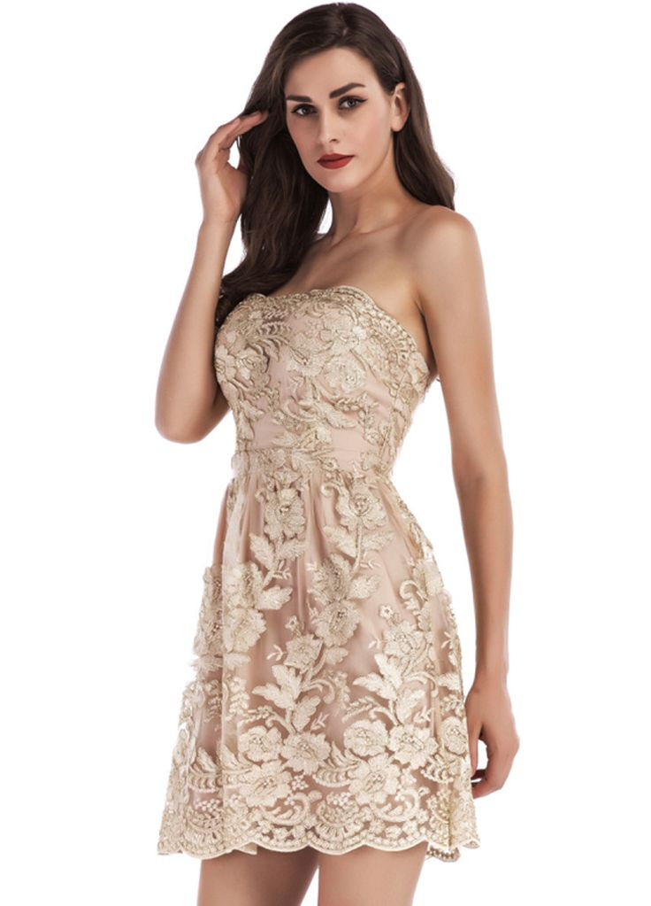 Floral Embroidery Strapless Mini Dress_Club Dress_Clubwear Clothing_Sexy Lingeire | Cheap Plus Size Lingerie At Wholesale Price | Feelovely.com