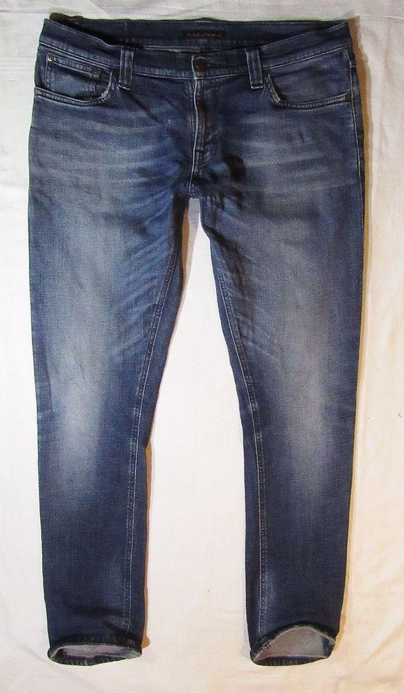 Autentic mens jeans Nudie Tight Long John Org Navy Neps  34/32 #Nudie #SlimSkinny