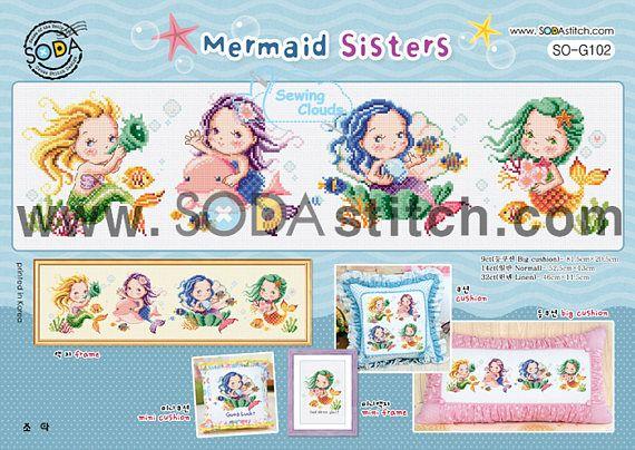 Ehi, ho trovato questa fantastica inserzione di Etsy su https://www.etsy.com/it/listing/540057729/mermaid-sisters-schema-punto-croce