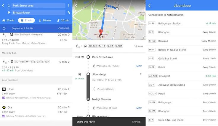 Google has introduced a new feature in Maps service in India, As commuters in Kolkata will now see real-time bus information in the Google Maps.