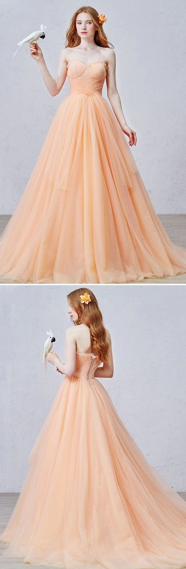 Simply charming orange ball gown for a special event! Repin if you like it <3