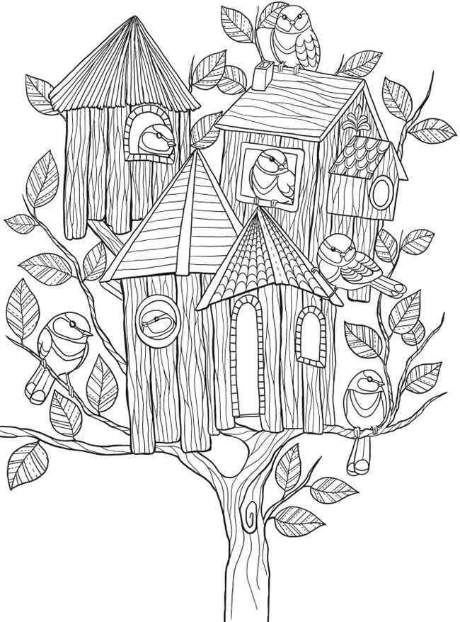 Welcome to Dover Publications ... free coloring book page ... whimsical birdhouse tree ...
