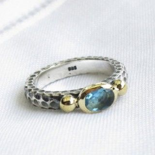 turkish aquamarine inspired vintage style ring 925 sterling