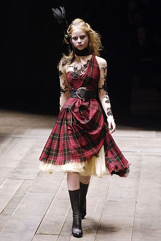 Loving the plaid! McQueen: Ensemble Widows of Culloden, autumn/winter 2006–7 Dress of McQueen wool tartan; top of nude silk net appliquéd with black lace; underskirt of cream silk tulle