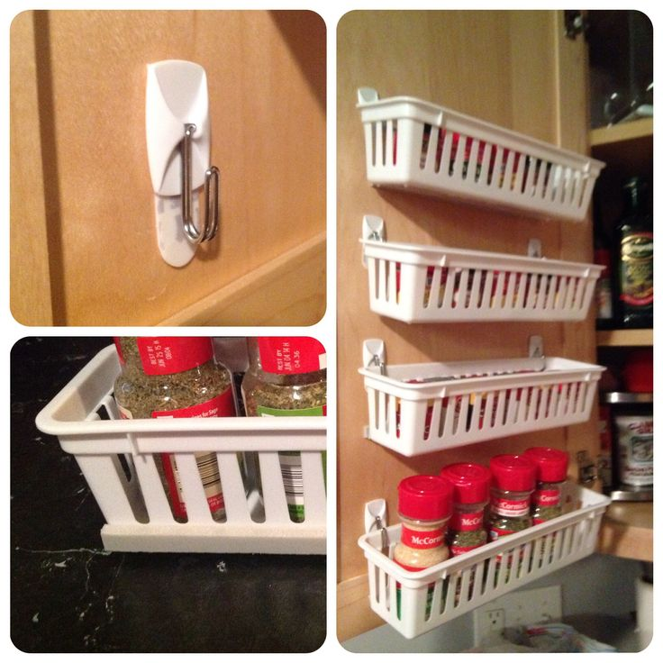DIY Spice Rack. Plastic drawer organizers, Command Hooks and weatherstrip seal foam. Bending the hooks with pliers keeps the baskets closer to the door.  The foam helps the baskets stay closer to upright and makes them not bang against the door.