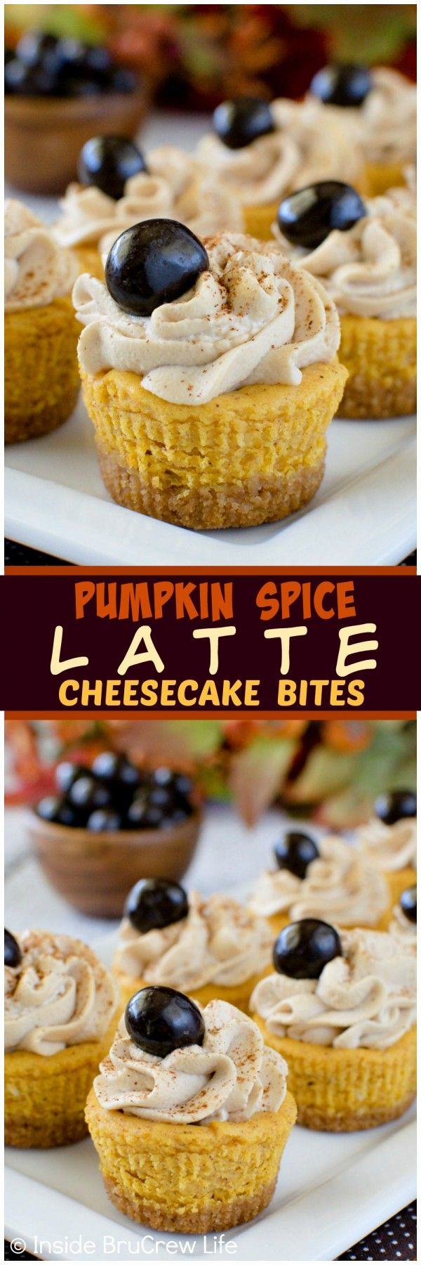 Pumpkin Spice Latte Cheesecake Bites - these mini pumpkin treats have a delicious coffee whip on top. You will find yourself grabbing a few extras since they are so small.  Great recipe for fall parties.