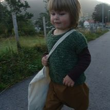 This is a ever so special vest.It is knitted 65% wool and 35% hemp jarn.Green in color and knitted for a boy 2-3 years of age.It is warm and can be used for special events aswell as daily use.Can be washed ONLY in cold water by hand.