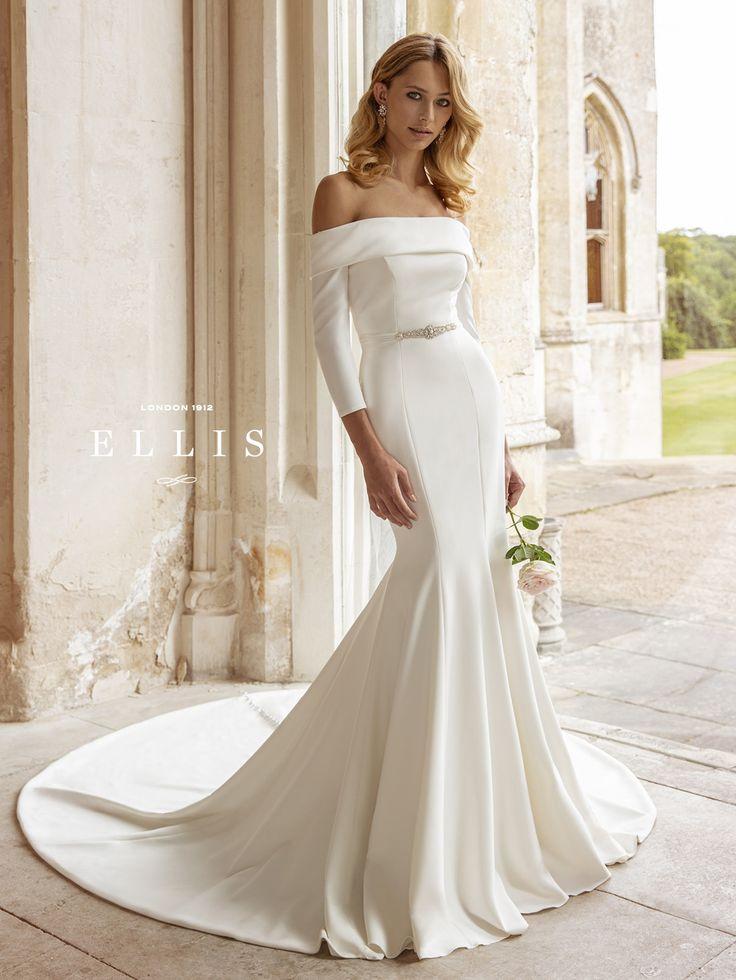Ellis bridals harper stretch crepe bardot fit and