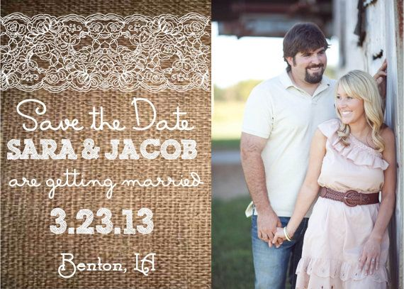 Rustic, Burlap & Lace Wedding Save the Date with Photo-- for the DIY Bride, Printable. $20.00, via Etsy.