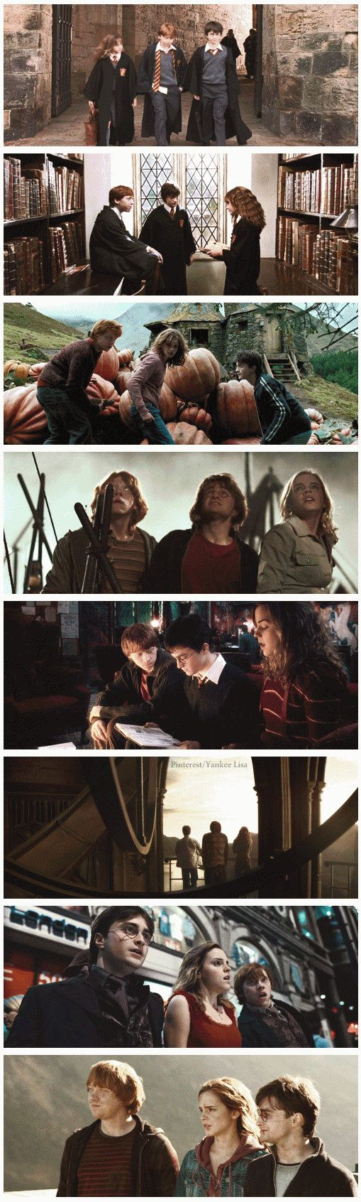 The Golden Trio ps just realized Harry and Ron had the same hairstyles in all of the movies