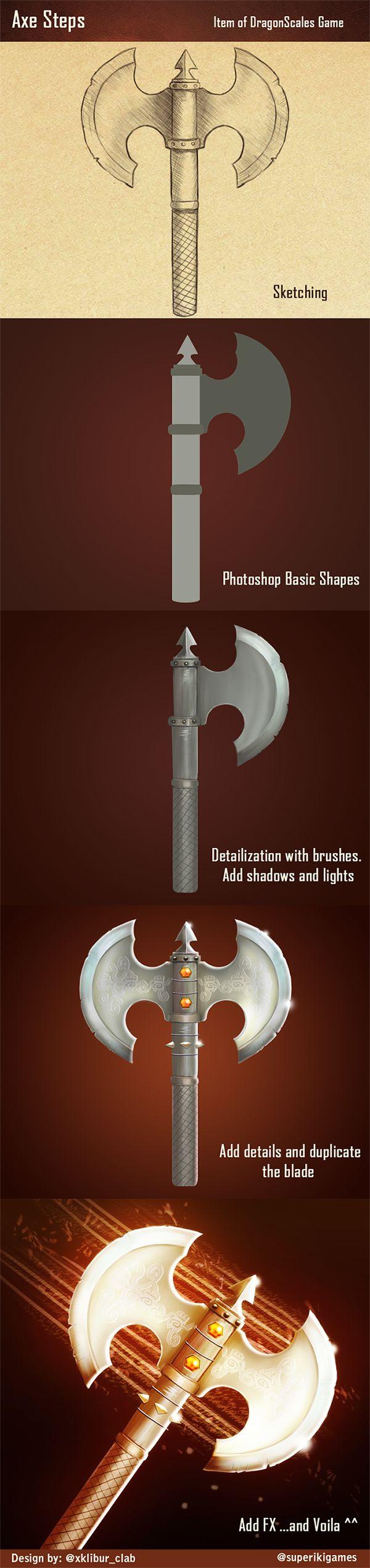 Pasos para dibujar el hacha del videojuego DragonScales: Chambers of the Dragon Whisperer (http://www.ikigames.com/dragonscales-chambers-of-the-dragon-whisperer/)