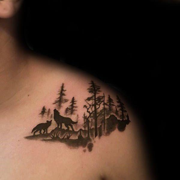 Forest Woolf Tattoo On Shoulder Wolf Tattoos Watercolor Wolf Tattoo Wolf Tattoo Shoulder