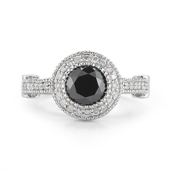 2 7 Carat Black Diamond Ring Tiffany Style Diamond Ring Black Dia…