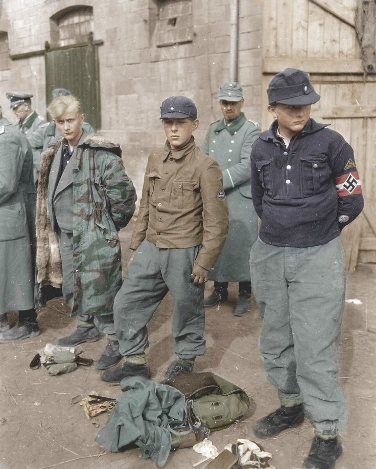 Hitler Youth/ Volksturmm, with mixed uniforms/etc.....captured by GIs 1945