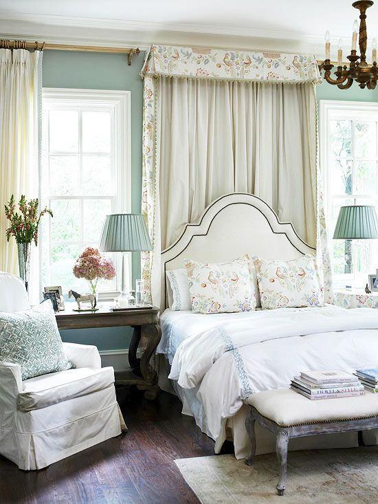 Dream room feature: I LOVE fabric headboards and fabric canopies. The cosy side chair and plentiful lighting for bedtime reading is a perk! #contest #pier1 #bhgstyle