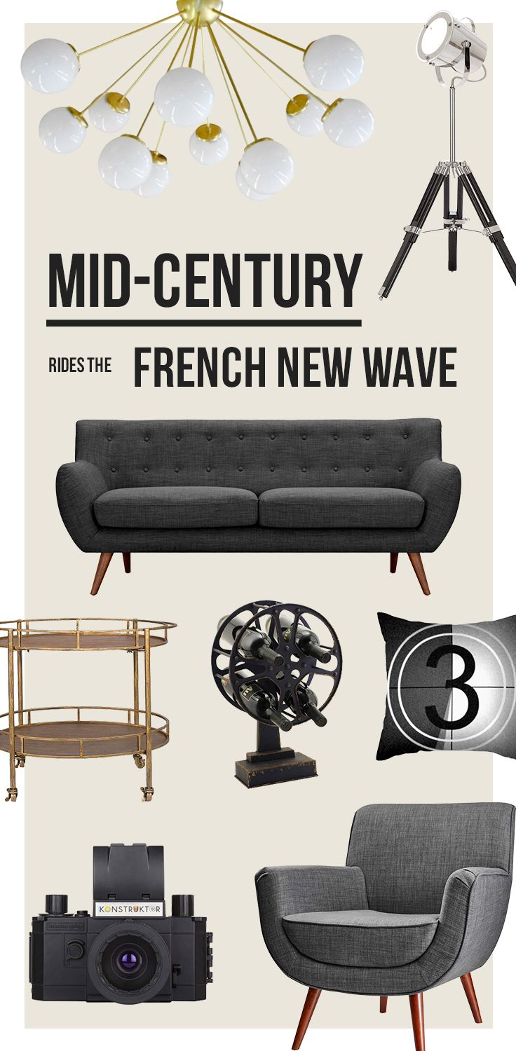 Mid-Century Rides The French New Wave:  Combining timeless silhouettes with cinematic décor, we create a scene that is filled with drama, elegance, and style, and discover new ways to introduce these classic designs into our homes. Shop Now at dotandbo.com!